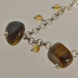 Silver bracelet with tiger eye and citrine quartz