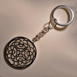 Portachiavi in argento 925 con rosone traforato